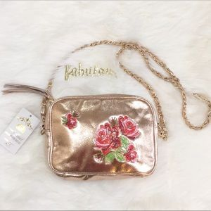rose gold rose embroidered detail chain bag
